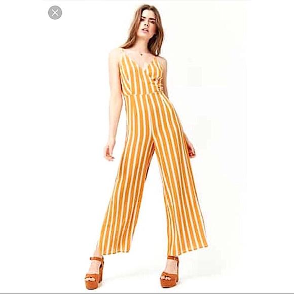 8857c7903892 Yellow Stripe Faux Wrap Jumpsuit (New)